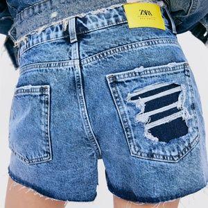Zara Shorts - NWT Zara Frayed Denim Shorts